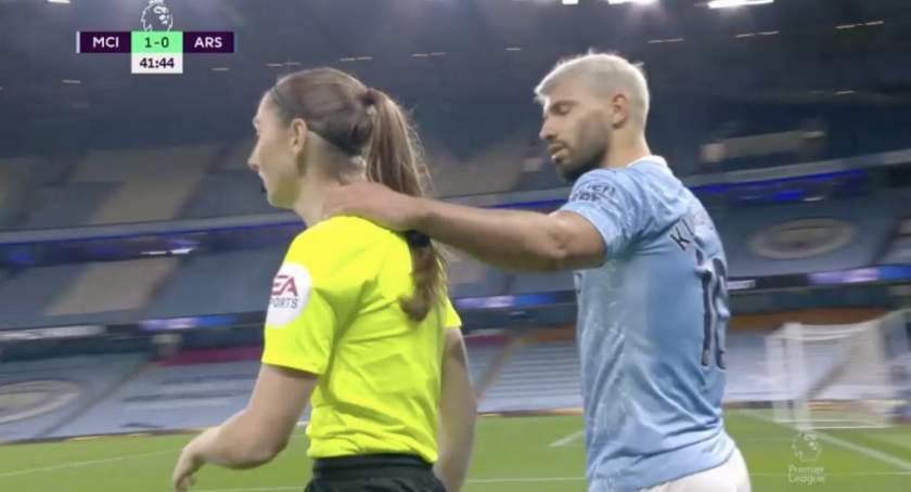 Man City vs Arsenal: Aguero receives criticism for grabbing female assistant referee's neck