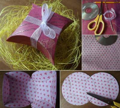 How To Make A Diamond-Shaped Gift Package In Five Minutes Using A CD