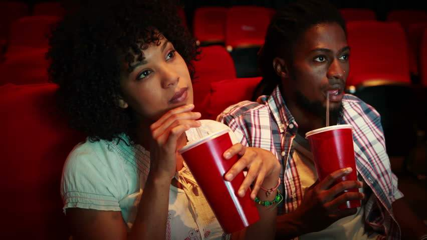Black Couple At The Cinema HDFootageStock