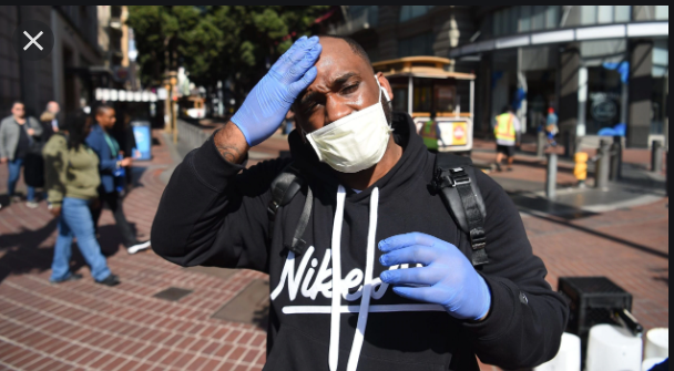 African American Man In Public With A Face Mask