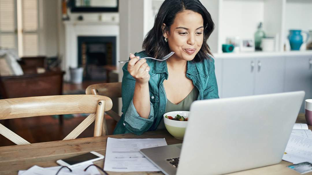 Woman Home Laptop Eating 1 Header