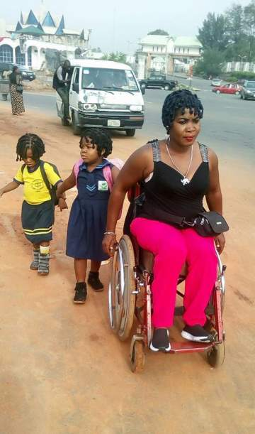 Emotional Photo Of Physically-Challenged Nigerian Mother Taking Her 3 Kids To School