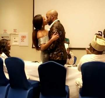 Banky W And Adesua Kiss Passionately After Their Civil Marriage In Lagos (Video)