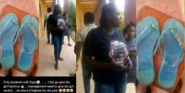 Female student who tried cheating by scribbling answers on her slippers caught