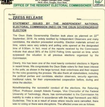 Full Statement: INEC declares Thursday, 27th as date for Osun governorship election re-run