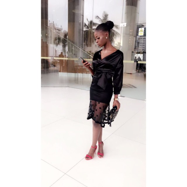 #BBNaija disqualified housemate, Khloe shares new photos as she rocks black for her media rounds