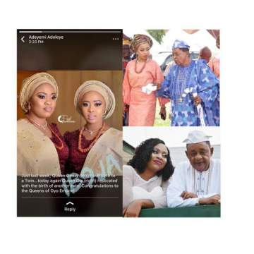Alaafin Of Oyo Welcomes Another Set Of Twins, One Week After Welcoming One With Last Wife.