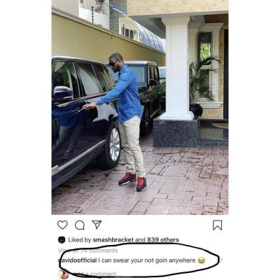 Davido savagely replies to a photo of Peter Okoye on Instagram