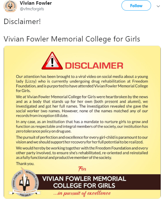 Vivian Fowler college receives heat for issuing disclaimer saying viral cocaine addict never attended their school