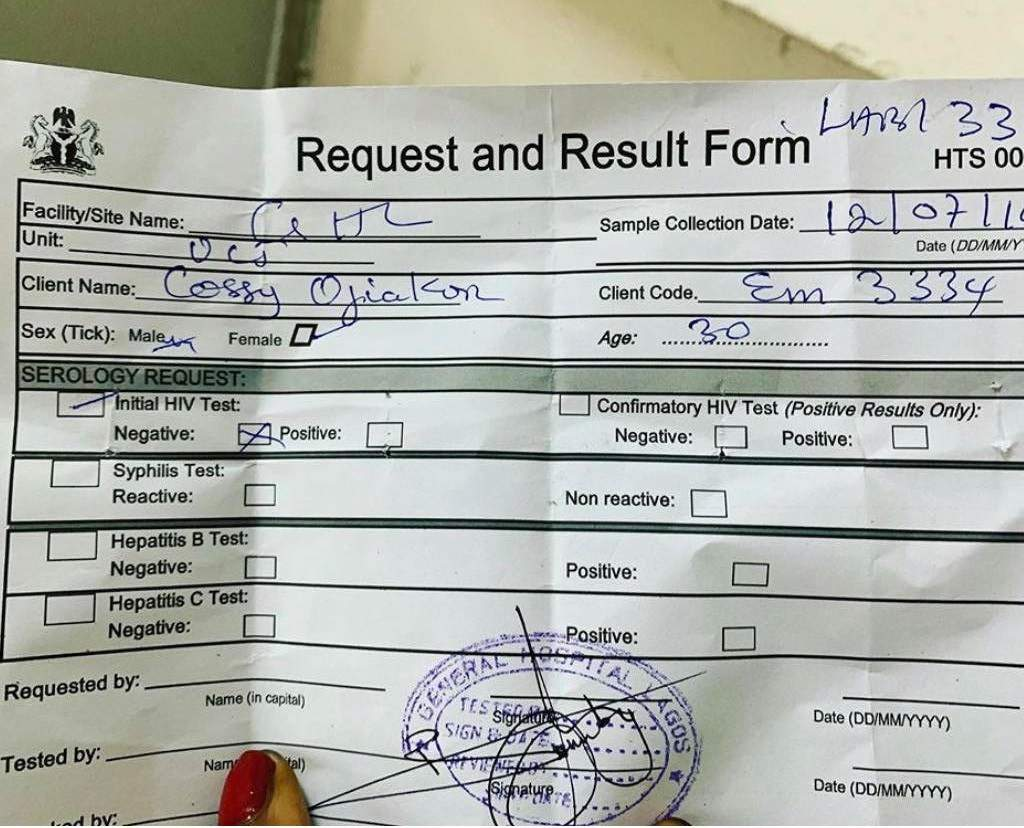 Cossy Ojiakor HIV Test Result