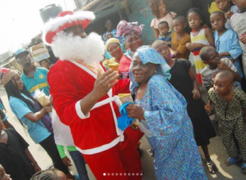 Desmond Elliot Shows Up At Constituency As Santa Claus To Share Gifts (Photos)