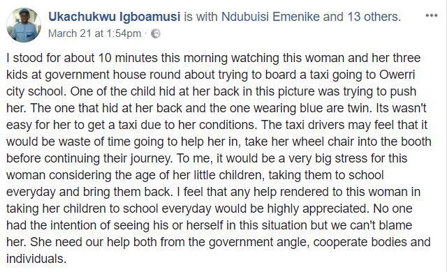 Emotional Photo Of Physically Challenged Nigerian Mother Taking Her 3 Kids To School 1