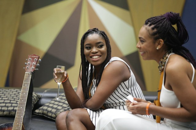 Bisola and TBoss in the BBNaija house during the Grand Finale.