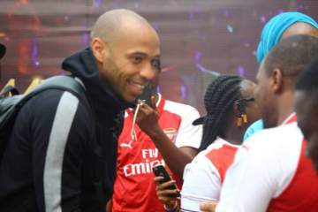 Football Legend, Thierry Henry Arrives Nigeria. (Photos)