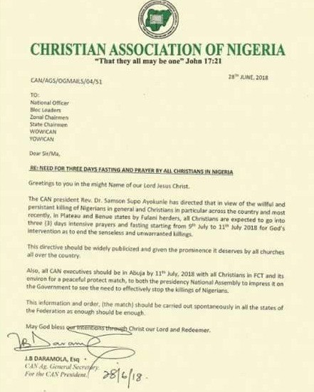 CAN declares three days fasting and prayers over incessant killings