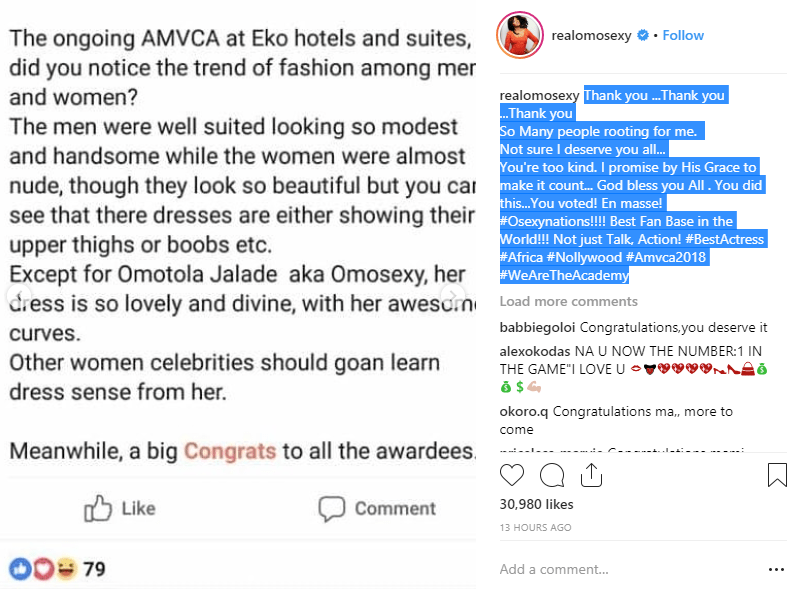 Omotola Jalade Shades Half Naked Women At The AMVCA 2018 With A Fans Post