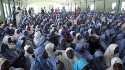 Dapchi schoolgirls during the headcount on Tuesday.