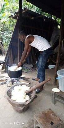 Husband material flaunts his fufu pounding skills (Photos)