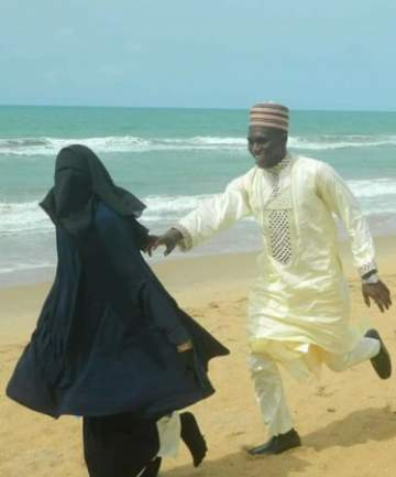 Beautiful Nigerian Muslim Man And His Bride On The Beach
