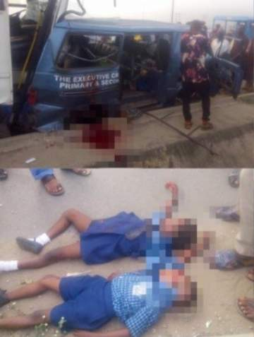 Photos: 2 School Kids Killed After A Truck Rammed Into Their School Bus In Abuja