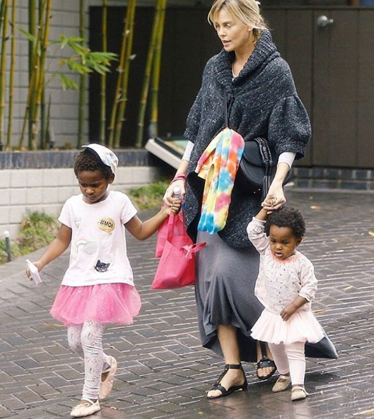Charlize Theron and her 2 children