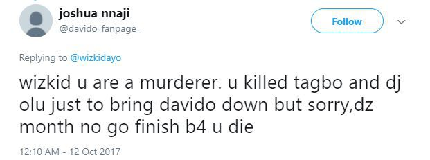 """Wizkid Davido 04 - """"Wizkid Will Know No Peace Until He Confesses How He Killed Tagbo"""" - Davido's Die Hard Fan Says On Twitter"""