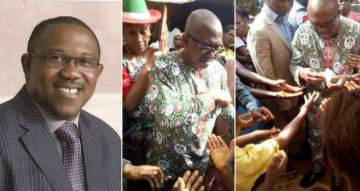 Former Governor Peter Obi Pictured Sharing Money Ahead Of Anambra Governorship Elections.