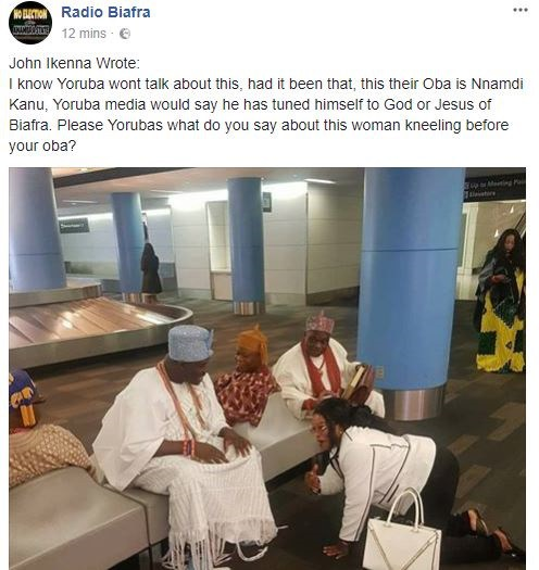 IPOB member reacts to photo of a woman prostrating before Ooni of Ife