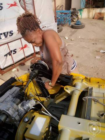"Photos Of A Lady Who Assembles ""Keke Napep"" In Anambra"
