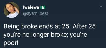 """Twitter user gets savage response after saying """"being broke at 25 means you're poor"""""""