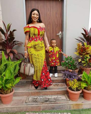 Tonto Dikeh and Son twinning for Sunday Service
