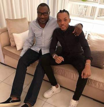 Femi Otedola shares adorable photo with Tekno, calls him his son