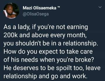 Nigerian man says 'Ladies who earn below 200k monthly shouldn't be in a relationship'
