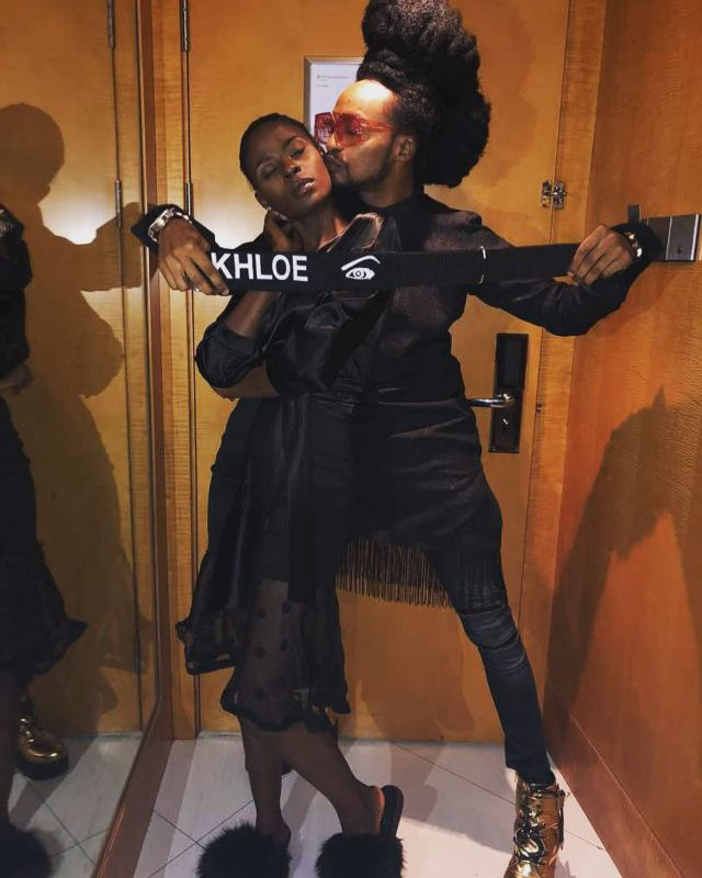 #BBNaija: Disqualified Housemate, Khloe Reunites With Denrele. (Photo)