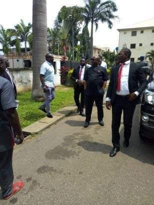 Former Ekiti governor, Ayodele Fayose arrives EFCC office in funny T-Shirt
