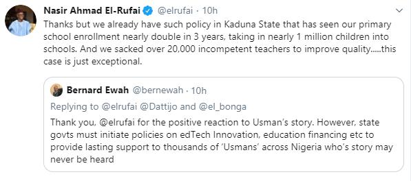 Kaduna state governor, El-Rufai pledges to sponsor education