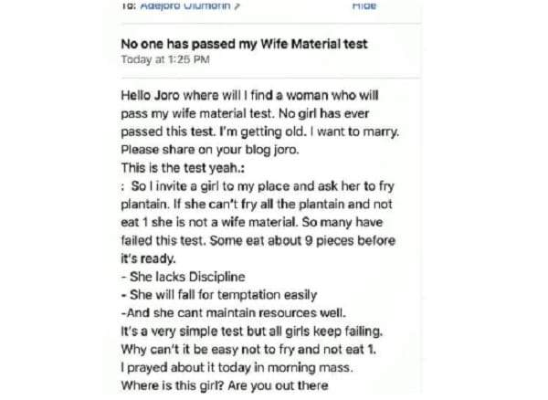No Woman Has Ever Passed My Wife Material Test Bachelor Cries Out Lailasnews