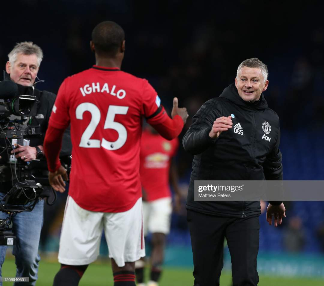 Manager Ole Gunnar Solskjaer Of Manchester United Celebrates With Picture Id1206940631?s=28