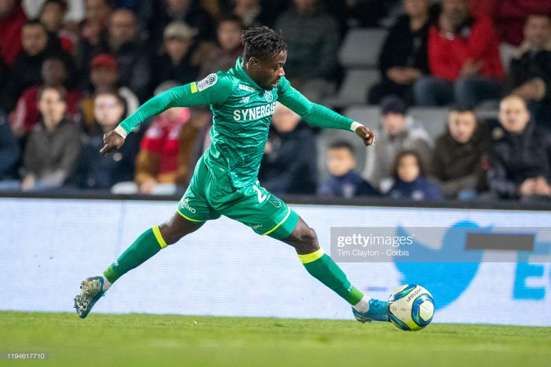 Moses Simon Of Nantes In Action During The Nimes V Nantes French 1 Picture Id1194617710?s=28