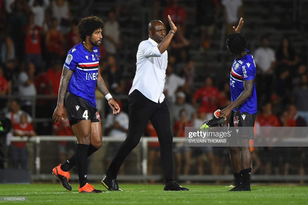 Nices French Head Coach Patrick Vieira Celebrates With Nices French Picture Id1162204925?s=28