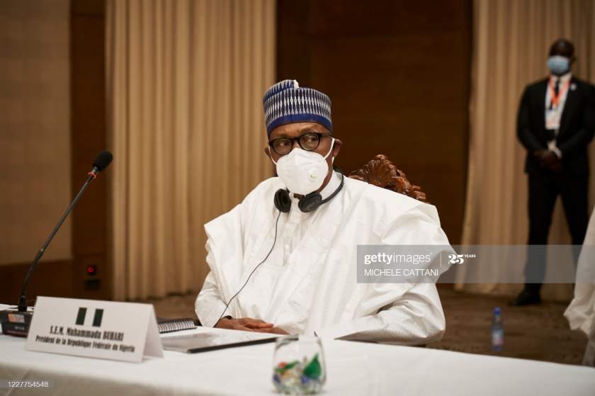 Nigerias President Muhammadu Buhari Is Seen After A Meeting In Bamako Picture Id1227754548?s=28