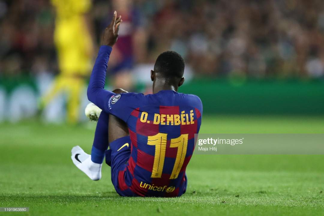Ousmane Dembele Of Barcelona Reacts During The Uefa Champions League Picture Id1191963880?s=28