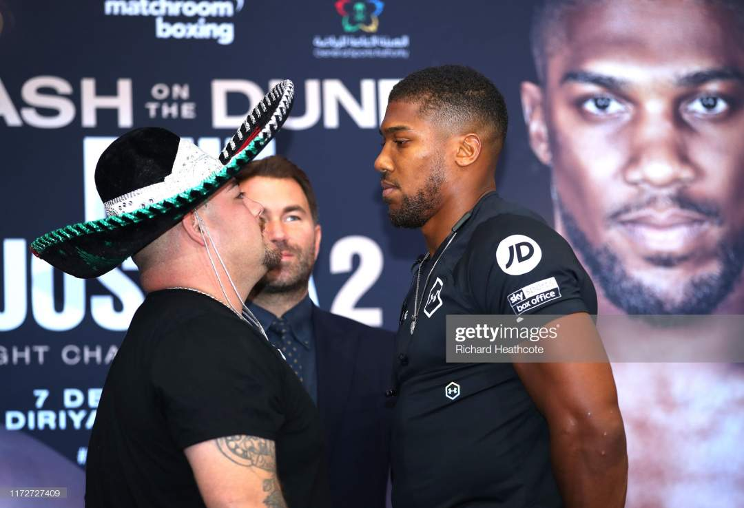 Andy Ruiz Jr And Anthony Joshua Face Off During The Press Conference Picture Id1172727409?s=28
