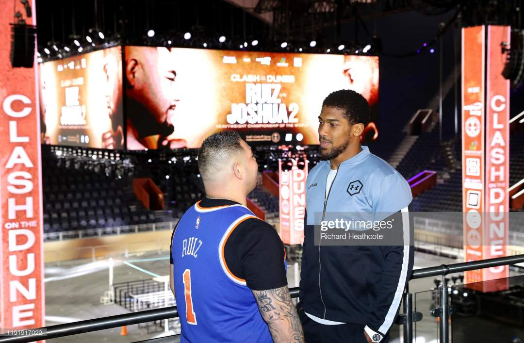Anthony Joshua And Andy Ruiz Jr Inside The Diriyah Arena During The Picture Id1191917022?s=28