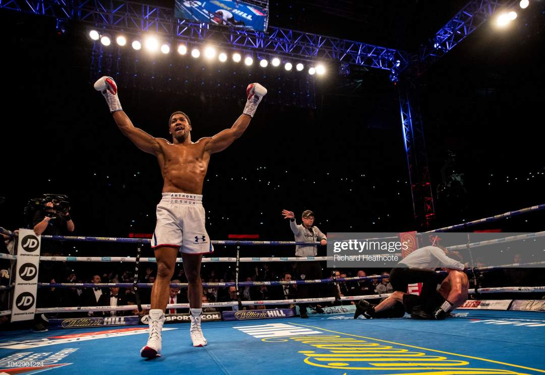Anthony Joshua Celebrates Victory Over Alexander Povetkin During The Picture Id1042904224?s=28