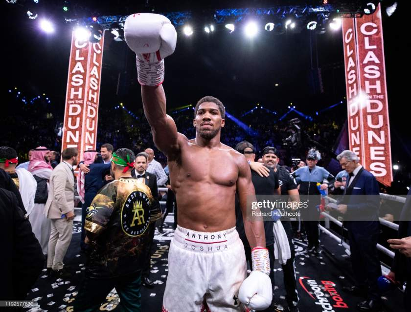 Anthony Joshua Celebrates Victory Over Andy Ruiz Jr During The Ibf Picture Id1192577630?s=28
