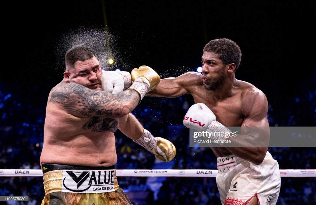 Anthony Joshua Punches Andy Ruiz Jr During The Ibf Wba Wbo Ibo World Picture Id1192575039?s=28