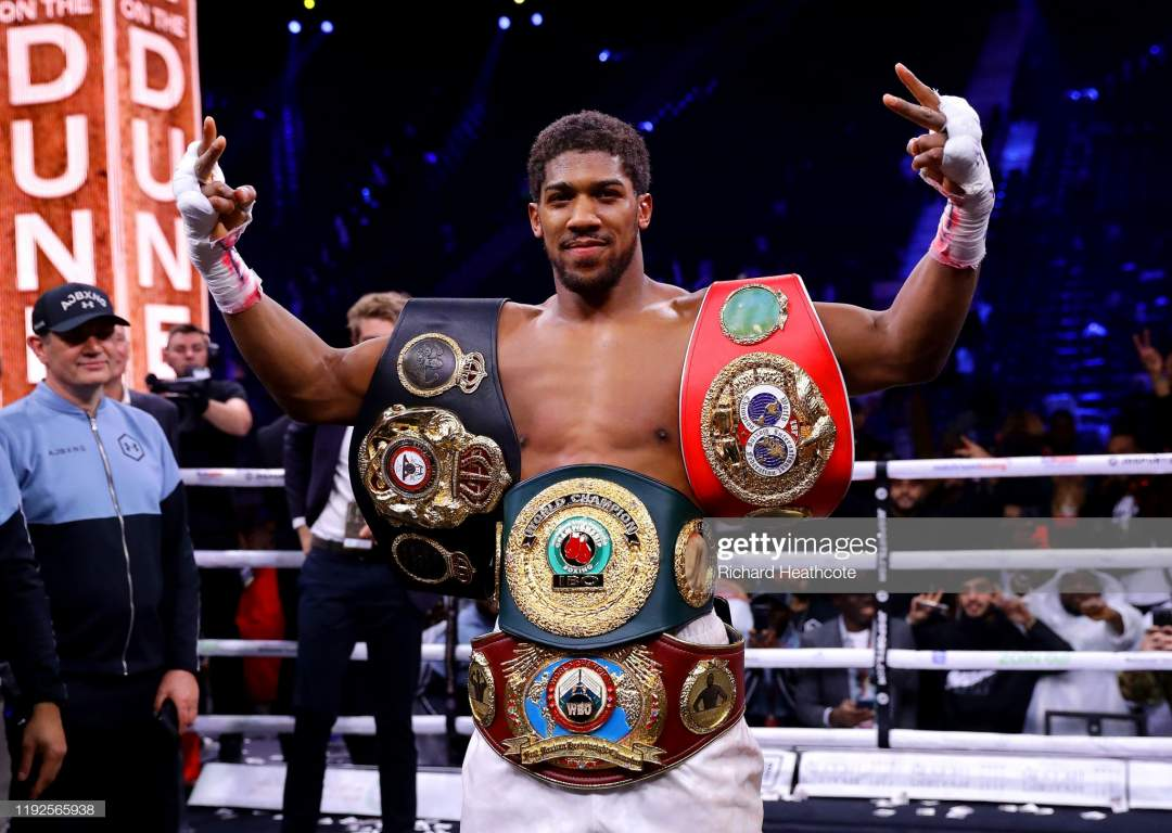 Anthony Joshua Poses For A Photo With The Ibf Wba Wbo Ibo World Picture Id1192565938?s=28
