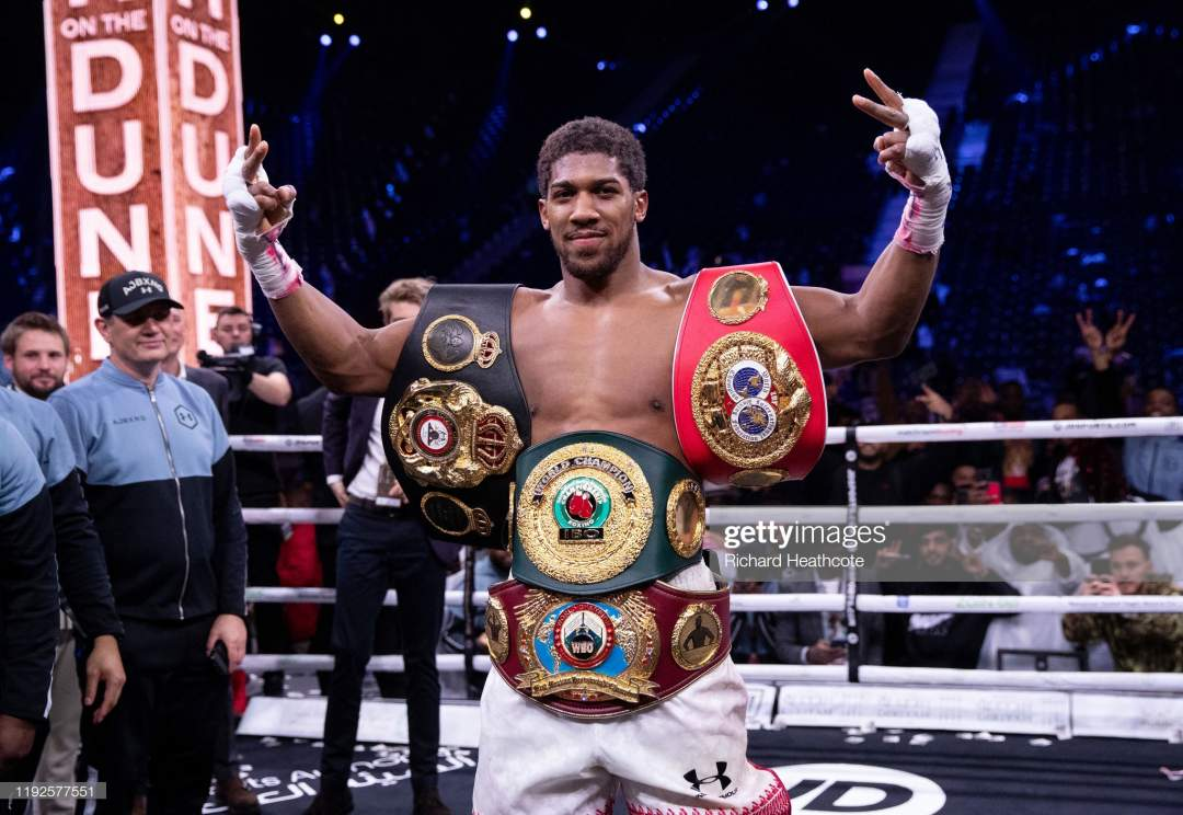 Anthony Joshua Poses For A Photo With The Ibf Wba Wbo Ibo World Picture Id1192577551?s=28
