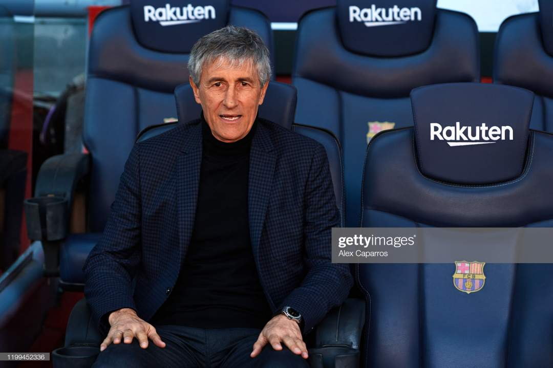 Barcelona Head Coach Quique Setien Sits On The Bench And Poses For Picture Id1199452336?s=28